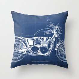 2010 Triumph Bonneville SE, motorcycle blueprint, husbands gift, offer, original poster, fathers day Throw Pillow