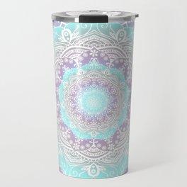 Bohemian Heaven Mandala Purple Blue White Travel Mug