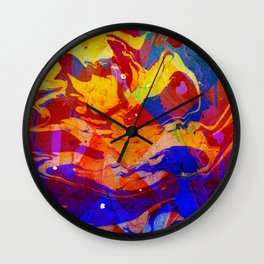 Abstract Blue Red and Yellow Dark Marble Colorful Pattern Wall Clock