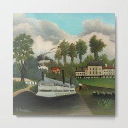 """Henri Rousseau """"The Laundry Boat of Pont de Charenton"""" Metal Print"""