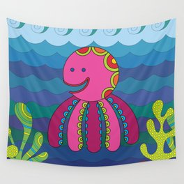 Stylize fantasy color octopus under sea water. Wall Tapestry