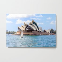 A yacht sails past the Opera House in Sydney Harbour Metal Print