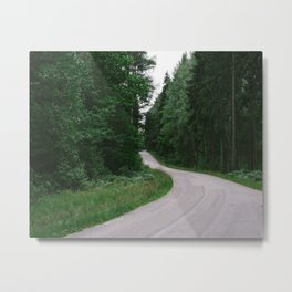 Forest road Metal Print