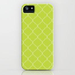Lime Punch Quatrefoil iPhone Case