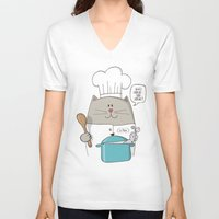 chef V-neck T-shirts featuring Chef cat, chef hat, ZWD009S6 by ZeeWillDraw