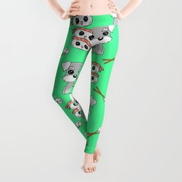 Cute cuddly funny baby Schnauzer puppies, happy cheerful sushi with shrimp on top, rice balls and chopsticks pretty light pastel green pattern design. Leggings