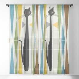 Mid-Century Modern Art Cat 2 Sheer Curtain