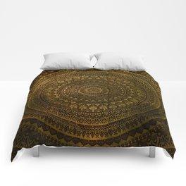Lime Brown Boho Mandala || Manafold Art Comforters