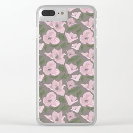 Floral seamless pattern magnolia on grey background Clear iPhone Case