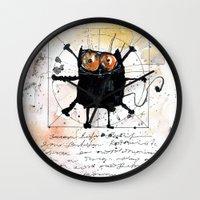 da vinci Wall Clocks featuring Kot da Vinci by Katja Main