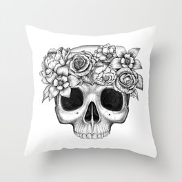 Flowerskull Throw Pillow