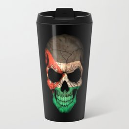 Dark Skull with Flag of Jordan Travel Mug