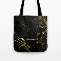 black and gold Tote Bags featuring Black & Gold by Coconuts & Shrimps