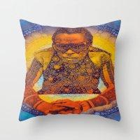 miles davis Throw Pillows featuring Miles by Kip Sikora