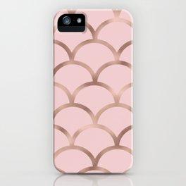 Rose gold mermaid scales iPhone Case