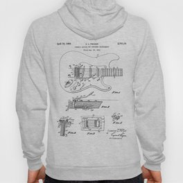 Guitar Tremelo Patent - Guitarist Art - Black And White Hoody