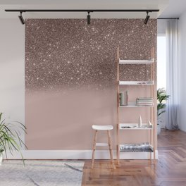 Rose Gold Glitter Ombre Wall Mural