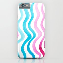 Wavy lines - pink and blue iPhone Case