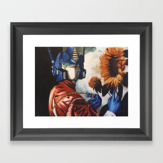 Optimus Prime With Sunflower Framed Art Print