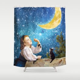 One Wish Upon the Moon Shower Curtain