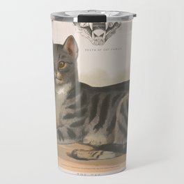 Vintage Illustration of a Domestic Cat (1872) Travel Mug