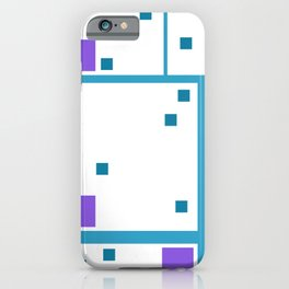 Violet Rectangle with turquoise Lines iPhone Case