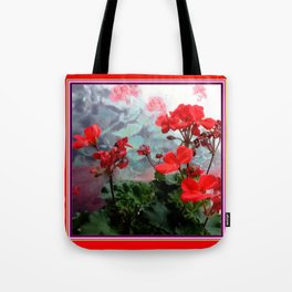 Red Geraniums Floral Red Abstract Tote Bag
