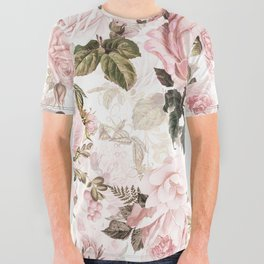 Vintage & Shabby Chic - Sepia Pink Roses All Over Graphic Tee