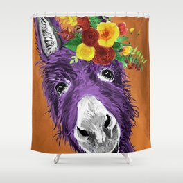 Colorful Donkey Art, Flower Crown Donkey Art Shower Curtain