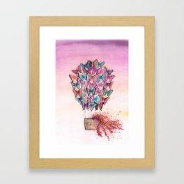 Butterfly Hot Air Balloon Illustration. Framed Art Print