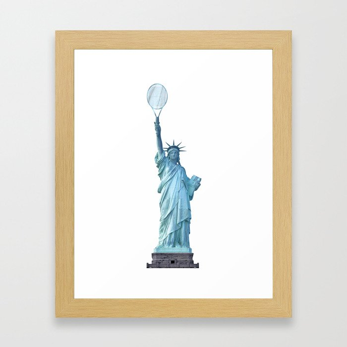 Statue of Liberty with Tennis Racquet Framed Art Print