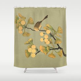 Bird in Ginkgo Tree Shower Curtain