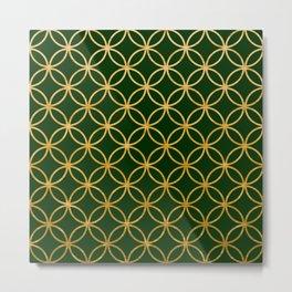 Dark green and gold foil interlocking circles Metal Print