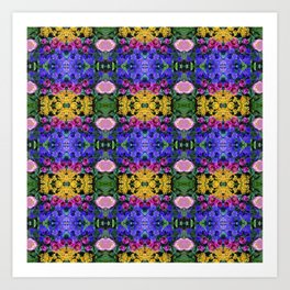 Floral Spectacular: Blue, Plum, Gold - square repeating pattern, Olbrich Botanical Gardens, Madison Art Print