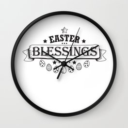 Easter Blessings Black Design Holiday Gift Cute Women Men Wall Clock
