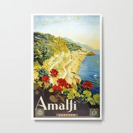 Amalfi Coast, Italy Vintage Travel Poster Metal Print
