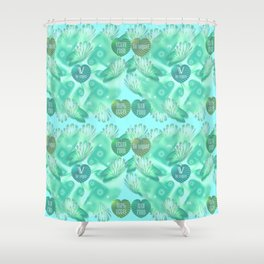 Abstract vegan pattern Shower Curtain