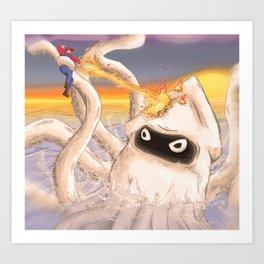 Mario Vs Blooper Art Print