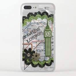 Awesome London Green Clear iPhone Case