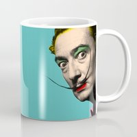 salvador dali Mugs featuring Salvador Dali by mark ashkenazi