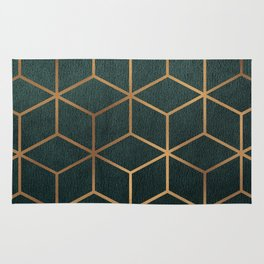 Dark Teal and Gold - Geometric Textured Gradient Cube Design Rug
