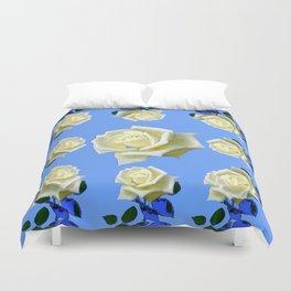 WHITE ROSES BLUE GARDEN DESIGN Duvet Cover