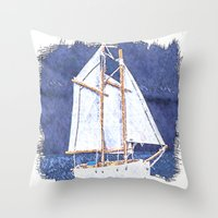 sailboat Throw Pillows featuring Sailboat by Michael P. Moriarty