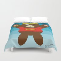 crossfit Duvet Covers featuring Crossfit Bear  by Gabriel J Galvan