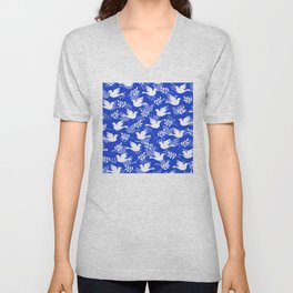 Hanukkah Doves Of Peace Pattern With Olive Branches Unisex V-Neck
