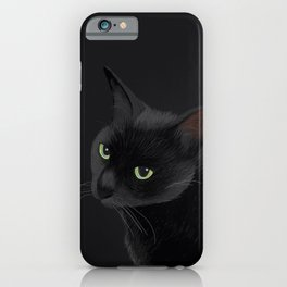 Black cat in the dark iPhone Case