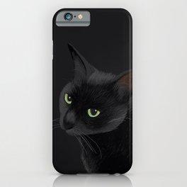 Black cat in the dark iPhone Case