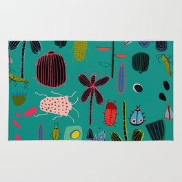 bugs and insects green Rug