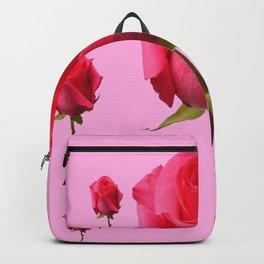 SCATTERED PINK ROSE BUD FLOWERS ON PINK Backpack