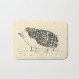Monochrome Hedgehog Bath Mat